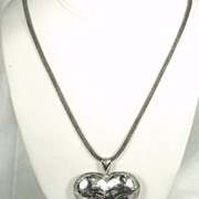 SALE Large 925 Sterling Silver Engraved Heart Pendant Necklace