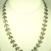Vintage Gold Tone Silver Germany Leaf Necklace