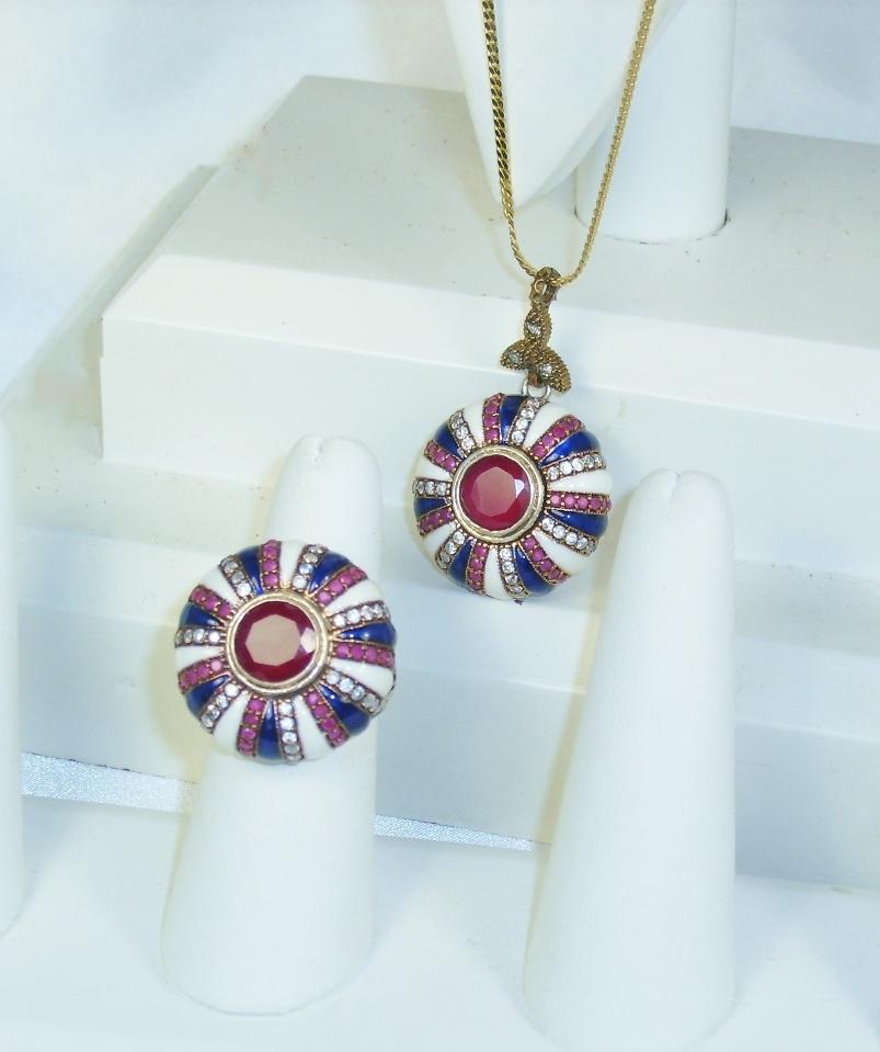 Item ID: 2585- Art Deco Gold Ruby Ring In Shop Backroom