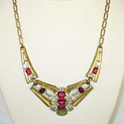 Art Deco McClelland Barclay Red Emerald Cut Glass Necklace
