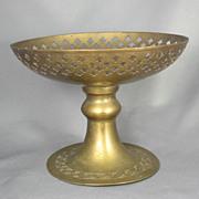SALE Large Vintage Indian Floral Brass Compote