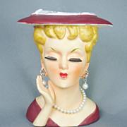 Vintage Lee Wards Exclusive Japan Porcelain Lady Head Vase