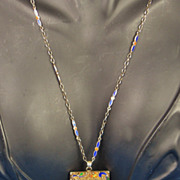 Art Deco Chinese Sterling Silver and Fancy Agate Necklace
