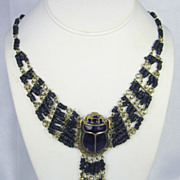 SOLD Vintage Egyptian Revival Enamel Scarab and Black Stone Bead Necklace