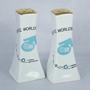 SALE Vintage 1939 Meier & Frank Co. World's Fair Salt & Pepper Shakers