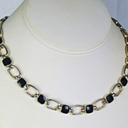 Vintage Silver Tone Metal and Black Enamel Choker Necklace