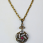 SALE Vintage 18kt Rose Gold, Sterling Silver, Diamond, and Ruby Pendant Necklace