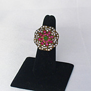 Vintage Ruby, Diamond, and Emerald Floral Ring in Sterling Silver and 18kt Rose Gold Metal