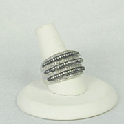 SOLD Designer 925 Sterling and 1.50ct Old Cut Black and White Diamond Ring