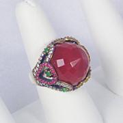 SALE 16.12cttw Carnelian, Emerald, Ruby, and Diamond Ring