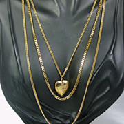 Vintage Three Strand Gold Tone Metal Heart Locket Necklace
