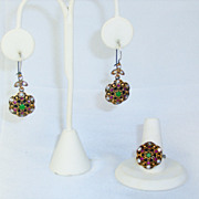 SOLD Stunning Moghul Simulated Diamond, Ruby, and Emerald Ring and Earrings Set