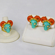 SALE Vintage Hattie Carnegie Coral and Turquoise Thermoplastic Ram Ring and Earrings Set