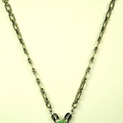 SALE Art Deco Press Molded Glass and Enamel Necklace