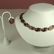 Vintage Matisse Renoir Copper Necklace and Earrings Set