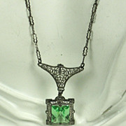 SOLD Art Deco 925 Sterling Filigree and Peridot Gemstone Necklace