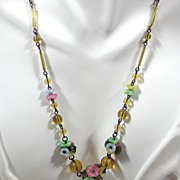 Vintage Molded Glass and Rhinestone Floral Necklace