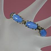 SALE Vintage Czech Blue Glass Bracelet