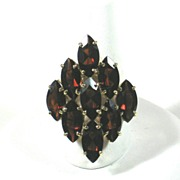 SALE Large Red Glass Garnet and 10kt Gold Ring