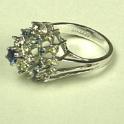 Vintage 18kt Gold Electroplate with Blue and White Rhinestone Ring