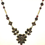 SALE PENDING Lovely Signed Czech Brass and Bohemian Garnets Necklace