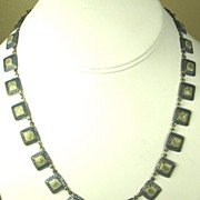 SALE Vintage Gold Tone Metal and Enamel Germany Necklace