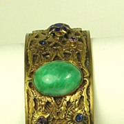 SALE Antique Victorian French Enamel and Green Swirl Glass Bracelet
