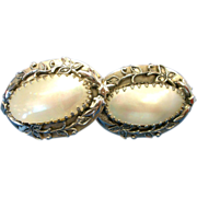 SALE Extra Large Whiting & Davis Mother of Pearl Clip On Earrings! Fab