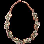 "SALE Signed ""Art Mode"" Vintage Necklace and Earring Set Demi Parure Gold Tone"