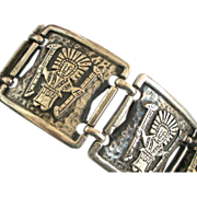 SALE On Sale Vintage Coro Overlay Silver Aztec/Mayan/Ethnic Figural Link Bracelet