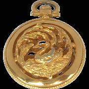 SALE Vintage Tancer II Pocket Watch Case Swan Pendant