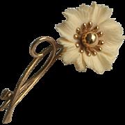SALE Vintage Winard 12k G.F. Carved Flower Pin