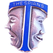 SALE Vintage Blue Enamel Sterling Silver Comedy/Tragedy Thespians Pin