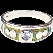 SALE Sterling Silver, White Sapphire, Australian Opal Ring Size 10 1/2