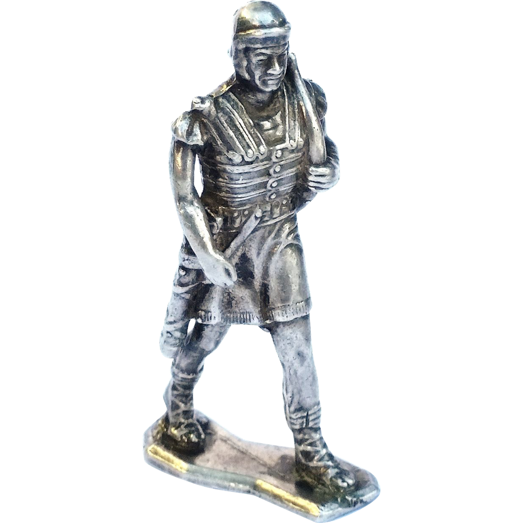 Sterling Silver Roman Soldier Sculpture Statue From