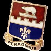 SALE WWII Military Peragimus Infantry Engineer Sterling Silver Enamel Pin