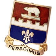 SALE WWII Military Peragimus Infantry Engineer Sterling Silver Enamel Pin