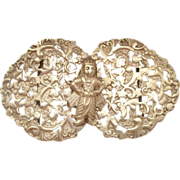 SALE Vintage English Two Piece Belt Buckle Ornate Asian Motif