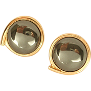 Vintage Gold Filled Hematite Cabochon earrings Clip Style