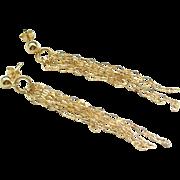 SALE Sterling Silver Chain Drop Earrings Gold Tone
