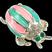 SALE Large VintagenBug Pin Brooch Enamel pink and Teal  Gold tone