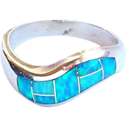 SALE Men's Sterling Silver Opal TEME Navajo Inlay Ring size 10 1/4