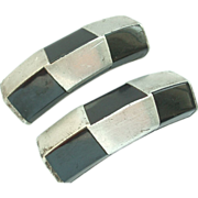 REDUCED Vintage Black Inlay Silver Colored Metal Shoe Clips