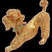 SALE Signed Vintage Gold Vermeil Sterling Poodle Dog Pin Brooch DOR