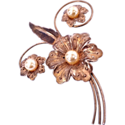 SALE Stunning Gold Washed Sterling Silver Faux Pearl Flower Pin