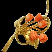 SALE Vintage Carved Coral Rose Flower Spray Pin Brooch