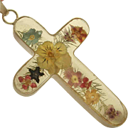SALE Sterling Silver Cross Pendant Lucite with Flowers