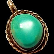 SALE Vintage Sterling Silver Turquoise Pendant