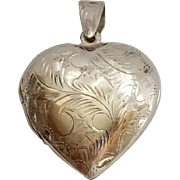 SALE Vintage Sterling Silver Etched Puffy Heart Locket- 925 Pendant