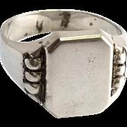 SALE Unique .835 Silver  Signet Ring No Monogram Size 8